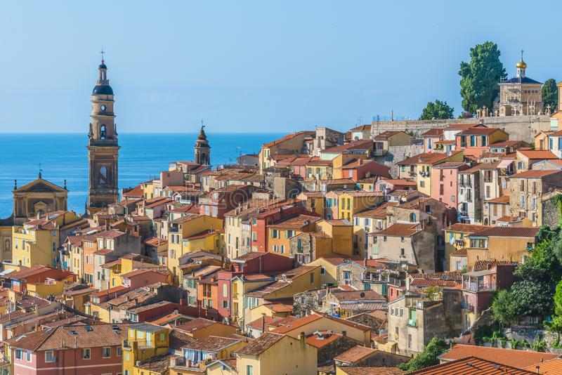 Old town architecture of Menton on French Riviera.  stock photo