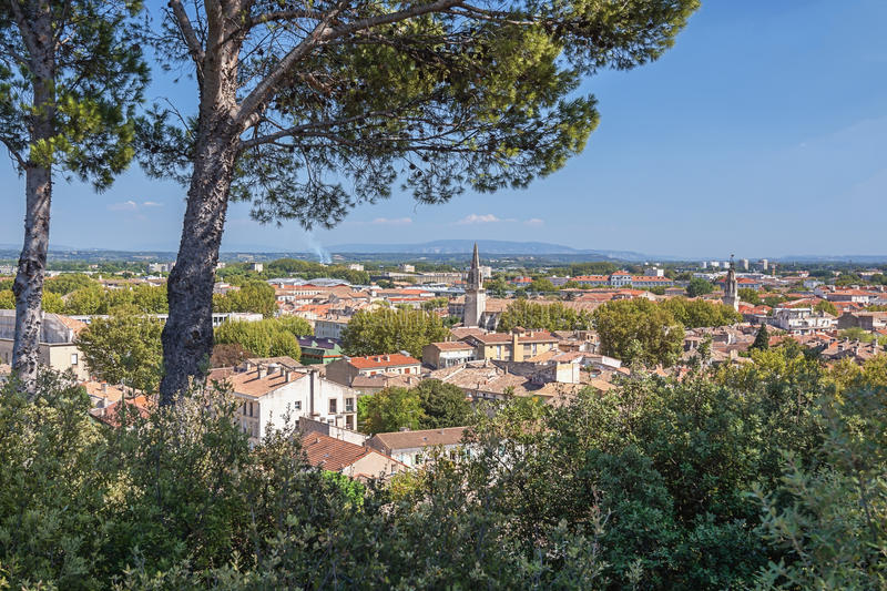 The old town Avignon seen from the Avignon city park on the rock royalty free stock photo