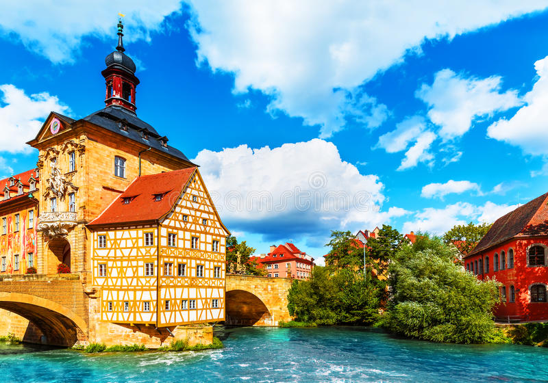Old Town in Bamberg, Germany. Scenic summer view of the Old Town architecture with City Hall building in Bamberg, Germany stock photography