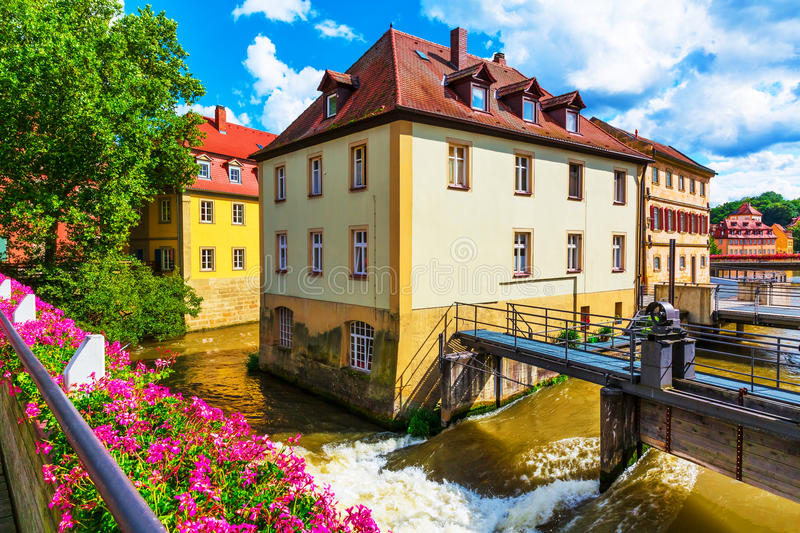 Old Town in Bamberg, Germany. Scenic summer view of the Old Town architecture with City Hall building in Bamberg, Germany royalty free stock photos