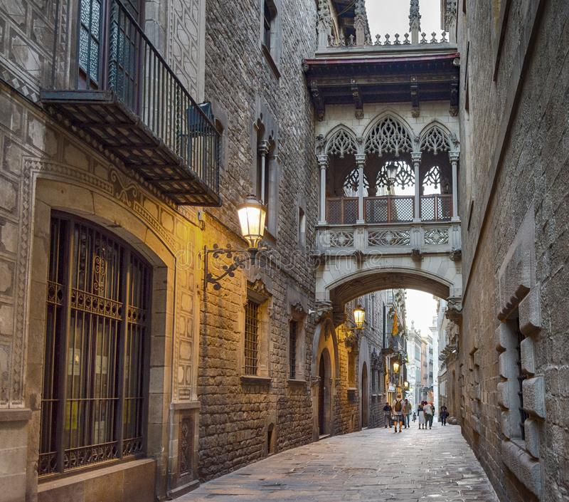 Old town of Barcelona stock photography