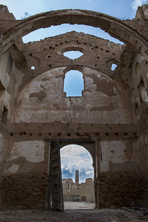 CHURCH entrance of `Belchite` TOWN after the world war II royalty free stock photos