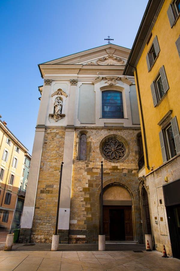 Old town of Bergamo, church stock image