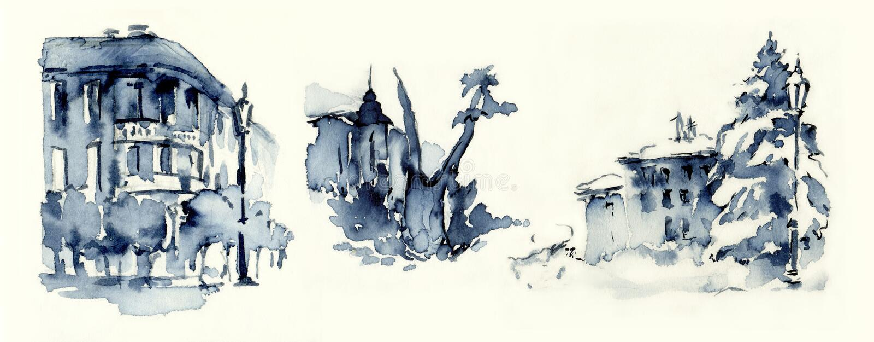 Download Old Town Blue Ink Miniatures Illustration Sketches Stock Illustration - Image: 31519221