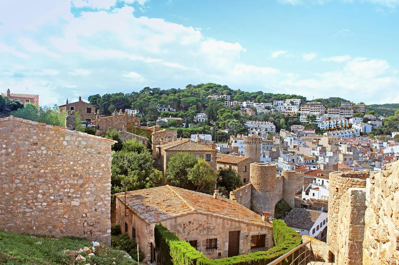 Old Town with blue sky in Tossa de Mar village stock photos