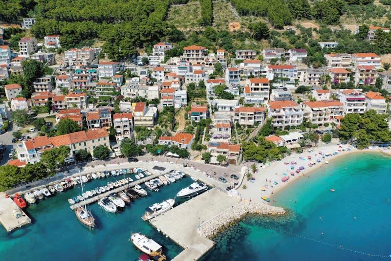 Aerial view of Old town Brela with harbor in Dalmatia, Croatia stock image