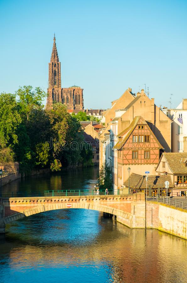 Old Town Bridge River House Strasbourg Cathedral stock image