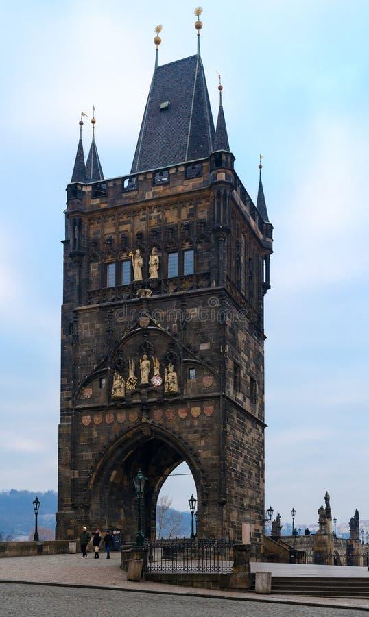 Old Town Bridge Tower on famous Charles Bridge, Prague, Czech Republic stock photography