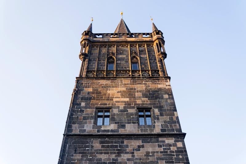 Old Town Bridge Tower guarding end of the Charles Bridge and entrance to Old Town of Prague, Czech Republic. Sunny summer morning stock images