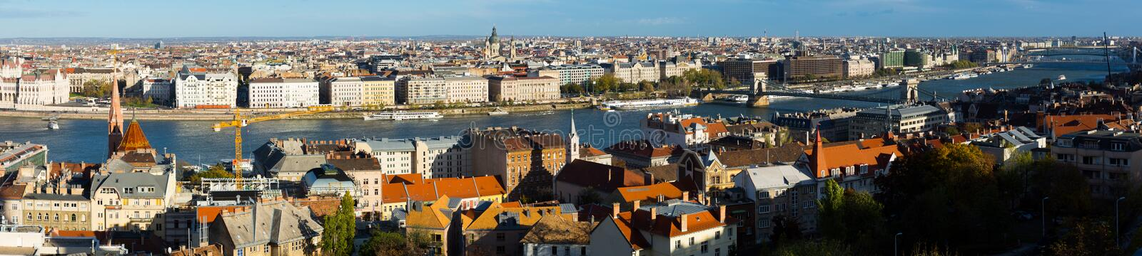Old town Budapest with historical buildings and  Danube. Image of old town Budapest with historical buildings near  Danube river stock image