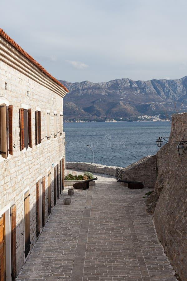Old town Budva and Adriatic sea. Montenegro royalty free stock photos