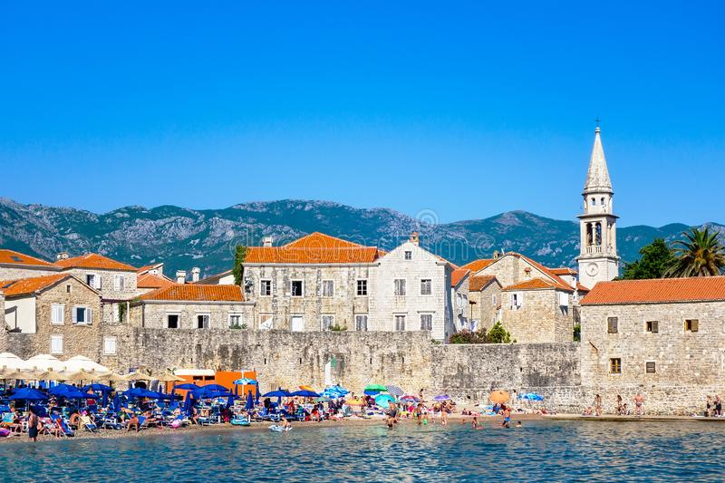 Old town Budva, Montenegro. Panoramic view of old town and beach stock photos