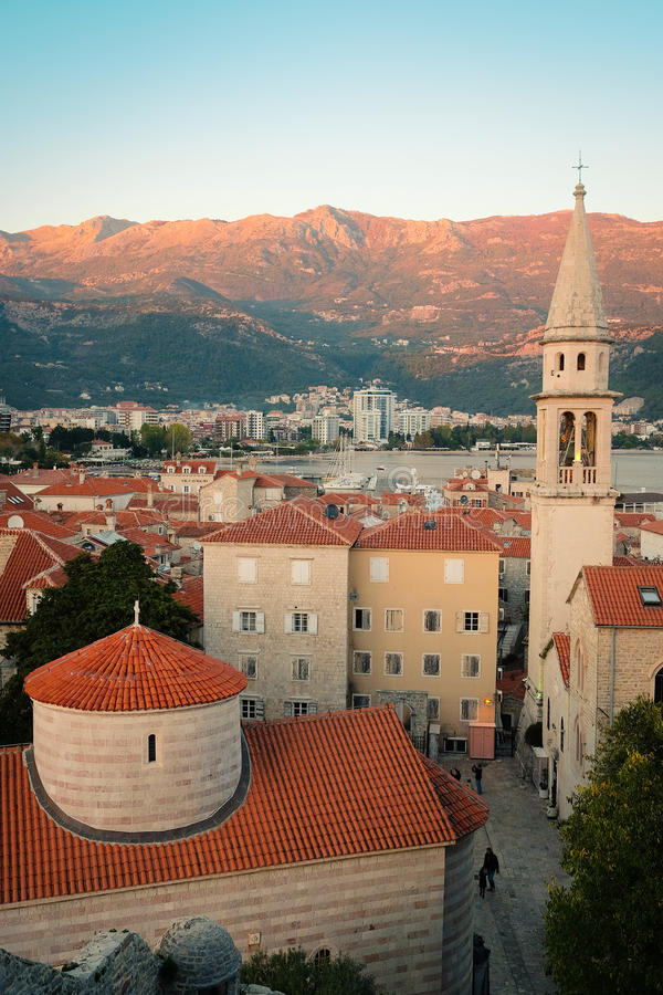 Old town of Budva. Montenegro at a sunset stock image