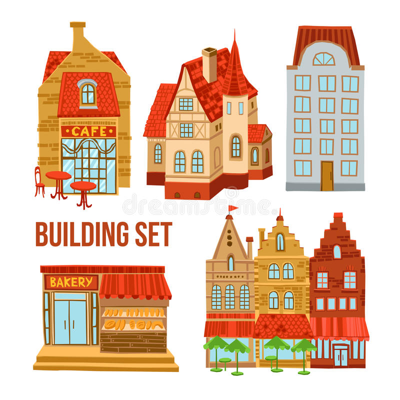 Old Town Buildings Set. Old town flat buildings set with cafe bakery and hotel vector illustration vector illustration