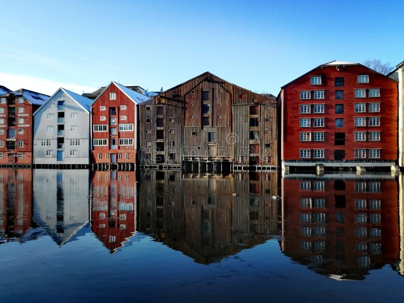 Old Town buildings in Trondheim, Norway stock images