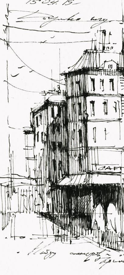 Old town cafe black ink hand drawn illustration royalty free illustration