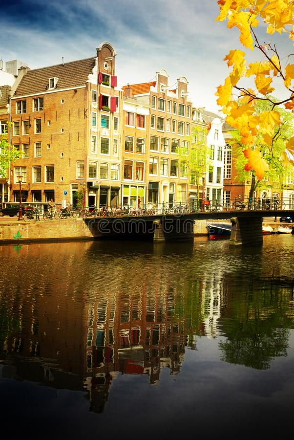 Old town of Amsterdam. Old town on canal ring, Amsterdam old town at spring day, Netherlands at autumn day stock image