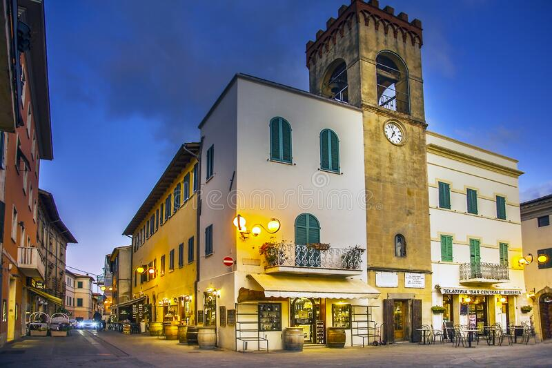 In the old town of Castiglione del Lago Italy. Castiglione del Lago Umbria Italy on October 03, 2019 Evening mood in the old town in Piazza Giuseppe Mazzini stock photo