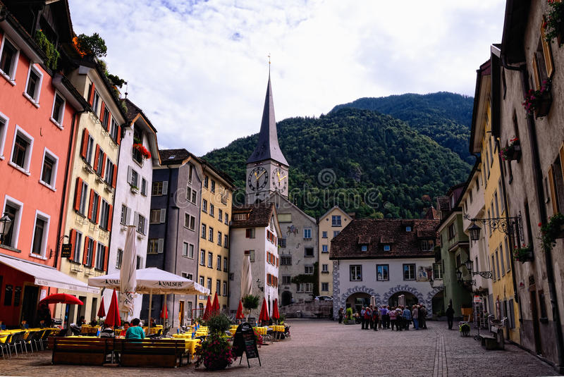 Old Town in Chur (Switzerland). Arcas Square and St. Martin's Church stock photography