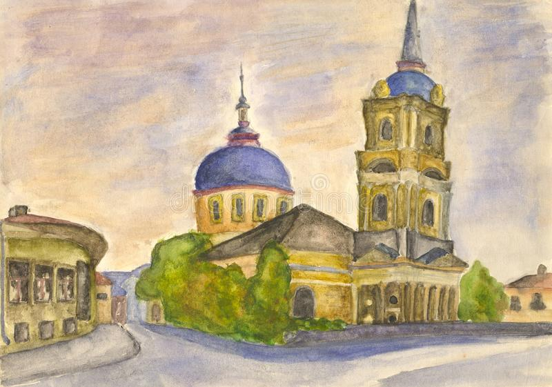Old town church. Watercolor stock illustration