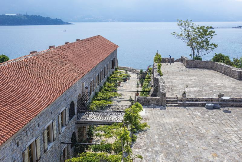 Citadel in Budva. Old Town citadel of Budva coastal town, Montenegro royalty free stock images