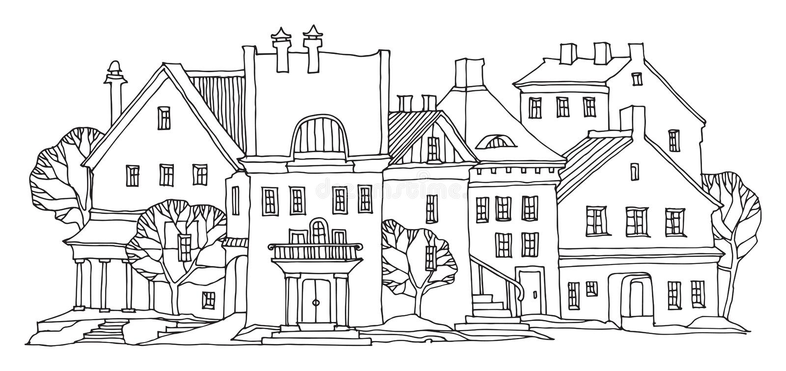 Old town city street homes sketch. Hand drawn on white background, vector illustration stock illustration