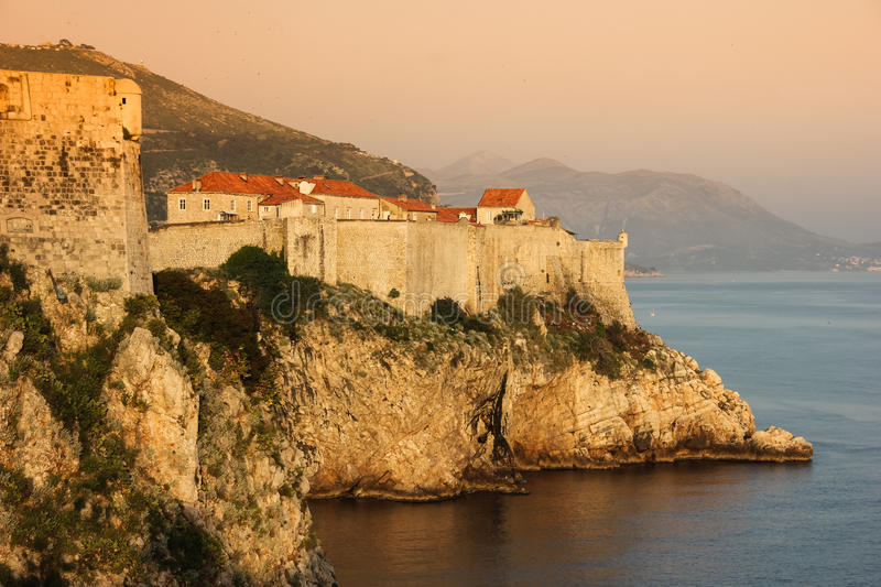 Old town and city walls. Dubrovnik. Croatia. Old town and city walls at sunset. Dubrovnik. Croatia royalty free stock images