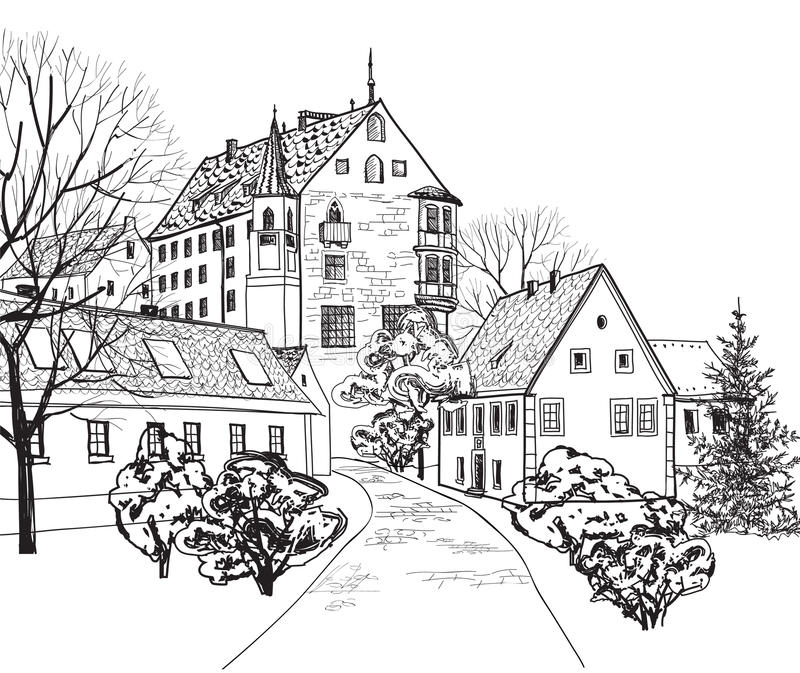Old town cityscape with street. Sketch of historic building and house. Pedestrian street in the old european city with tower on the background. Historic city royalty free illustration
