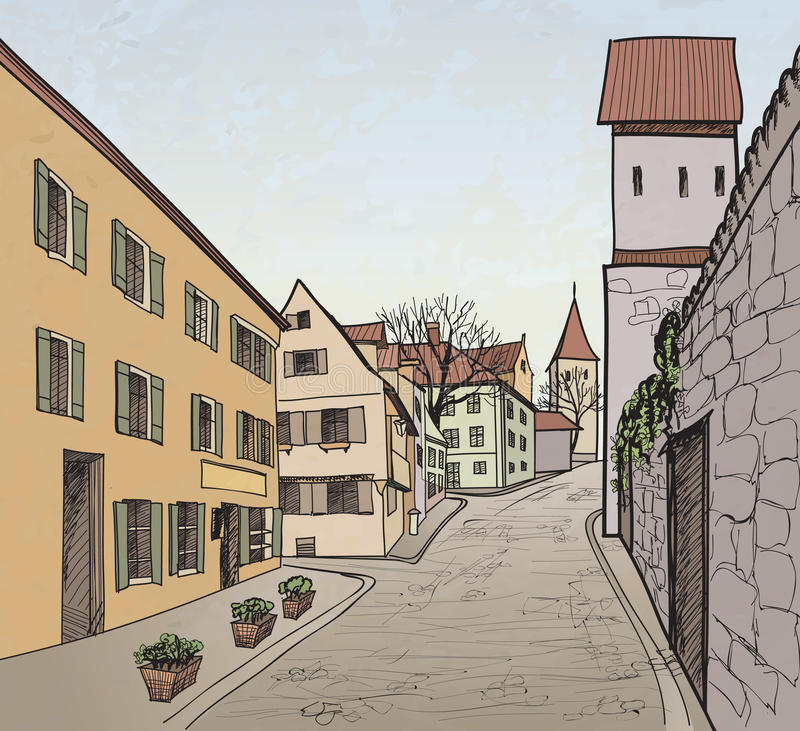 Old town cityscape with street. Sketch of historic. Pedestrian street in the old european city with tower on the background. Historic city street. Hand drawn stock illustration