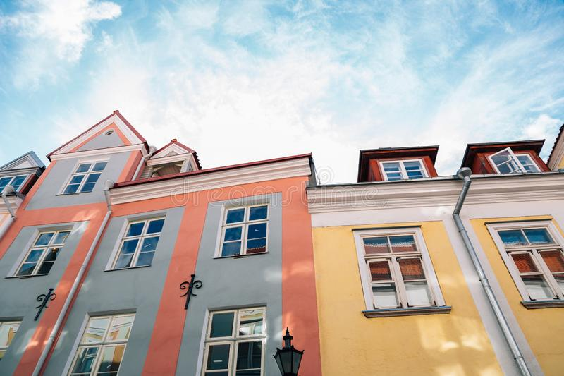 Old town colorful buildings in Tallinn, Estonia stock photos