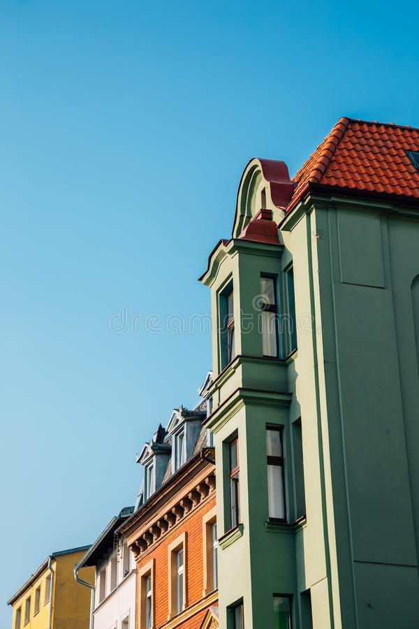 Colorful buildings in Torun, Poland. Torun old town stock photo