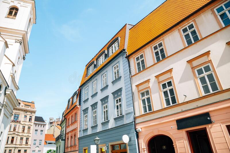 Old town colorful houses in Brno, Czech Republic. Europe royalty free stock photography