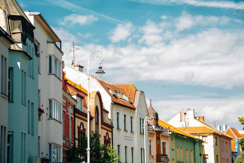 Old town colorful houses in Brno, Czech Republic. Europe royalty free stock image