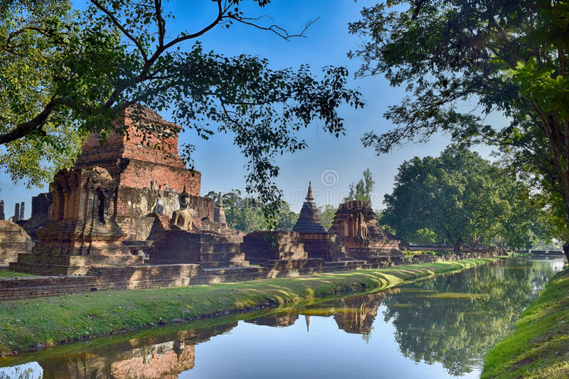 Old town combined with old canal in Sukhothai. It was a great experience in Sukhothai old town of Thailand stock photo