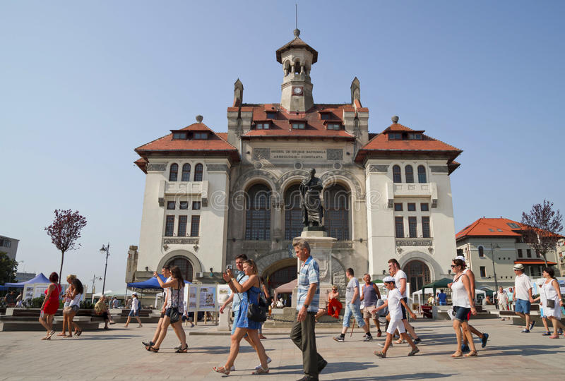Old Town in Constanta, Romania. CONSTANTA , ROMANIA ,EUROPE - AUGUST 15, 2015. Ovidiu Square with National History and Archeology Museum in the Old Town of royalty free stock images
