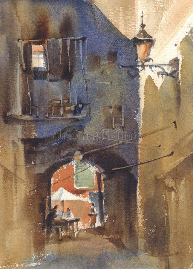 Old town courtyard watercolor landscape. A backstreet sketch royalty free illustration