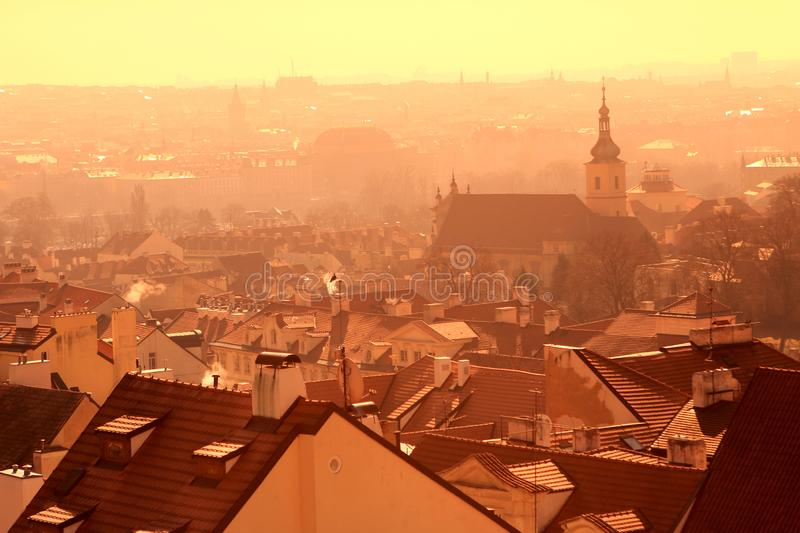 Old town of czech Republic. At noon see fron hill stock images