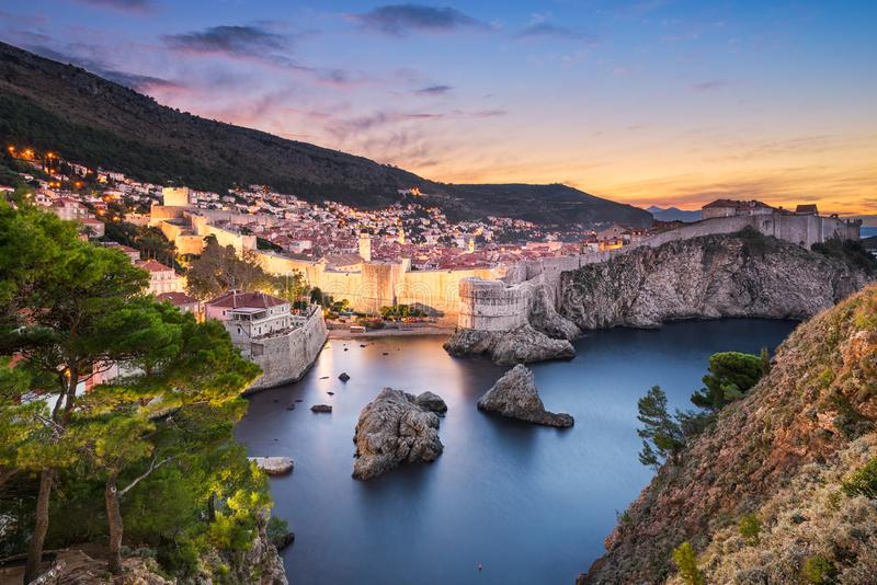 Old town of Dubrovnik, Croatia. At night stock photography