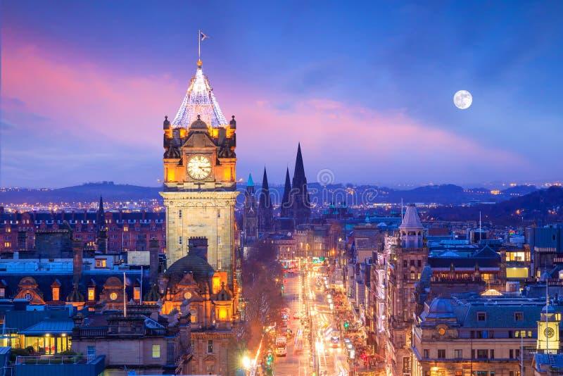 Old town Edinburgh and Edinburgh castle stock photos