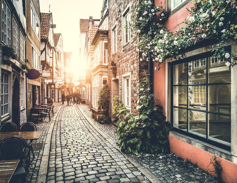 Old town in Europe at sunset with vintage effect. Old town in Europe at sunset with retro vintage Instagram style filter effect stock image