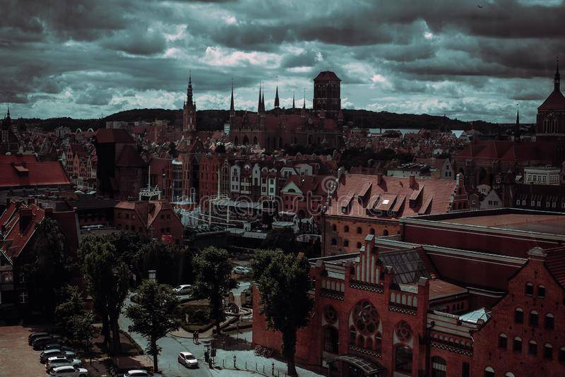Old Town and famous crane of Gdansk, aerial view from ferris wheel. Travel to Poland. Tourism industry. Polish architecture. City. Tour. Urban landscape. Street royalty free stock photo