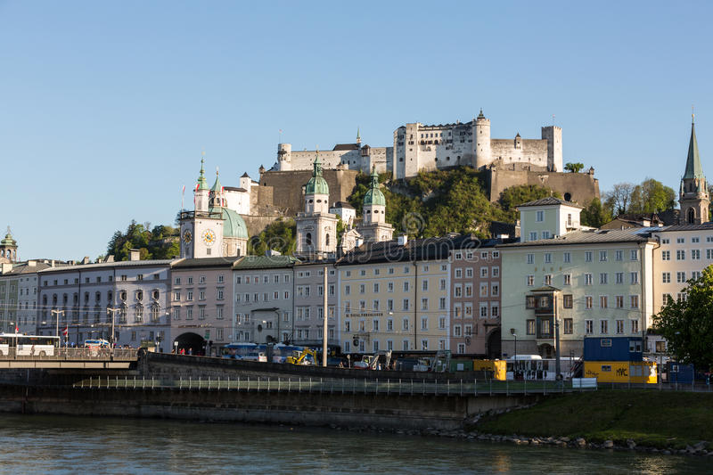 Old town and Fortress Hohensalzburg, beautiful medieval castle in Salzburg, stock photo