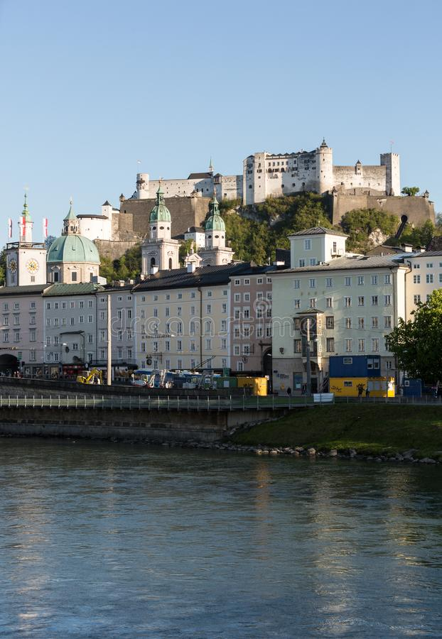 Old town and Fortress Hohensalzburg, beautiful medieval castle in Salzburg stock image
