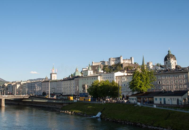 Old town and Fortress Hohensalzburg, beautiful medieval castle in Salzburg, royalty free stock photography