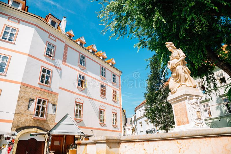 Old town Franciscan Square Frantiskanske namestie in Bratislava, Slovakia. Europe stock photography