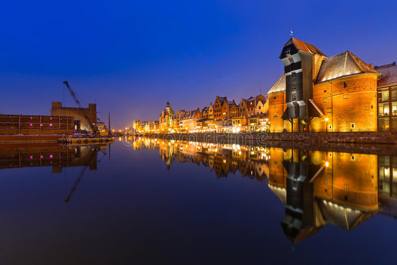 Download Old Town Of Gdansk With Ancient Crane At Night Stock Image - Image: 37610521