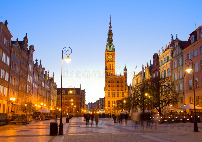 Download Old Town Of Gdansk With City Hall At Night Stock Photo - Image: 30965422