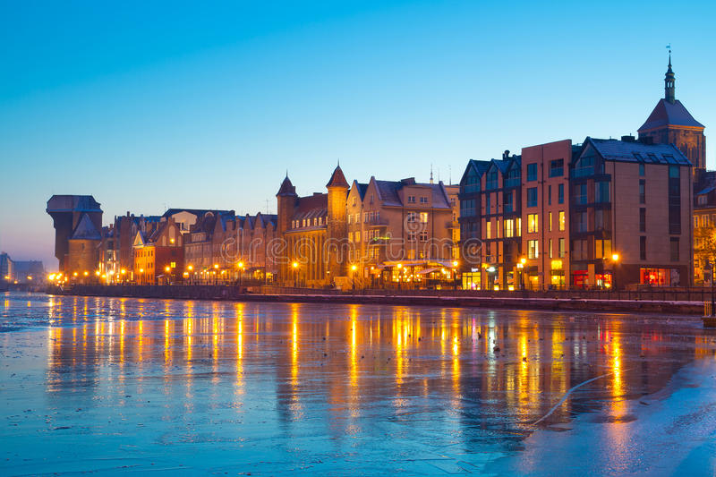 Old town of Gdansk at dusk royalty free stock photos