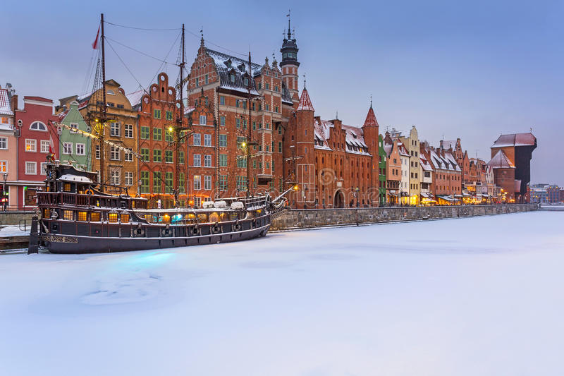 Old town of Gdansk, Poland. Old town of Gdansk at Motlawa river in snowy winter, Poland stock photo