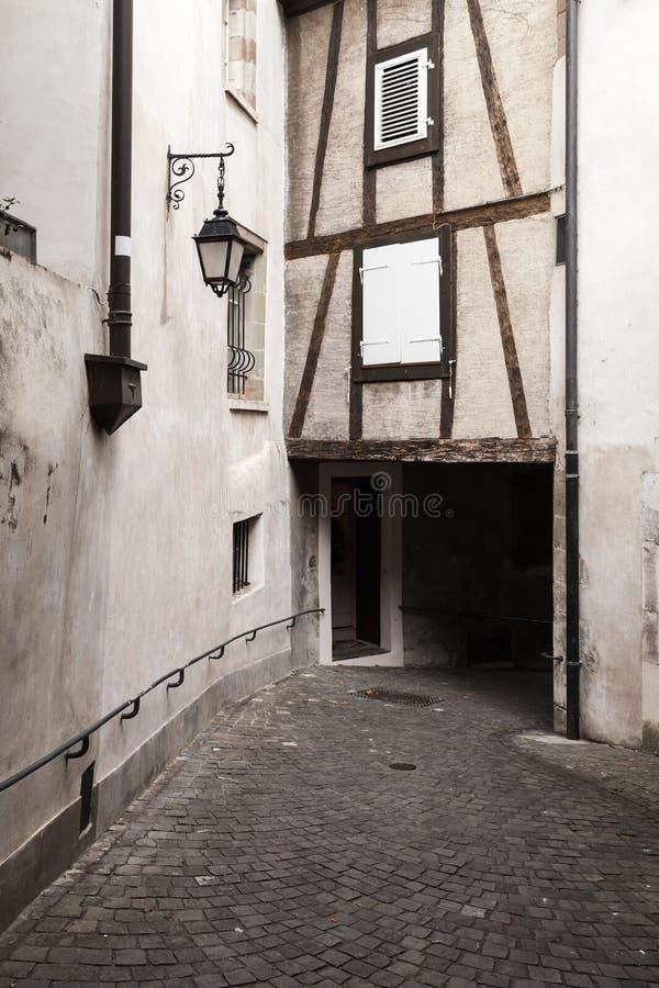 Old town of Geneva, Switzerland, narrow street stock photo